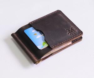 """Зажим для грошей """"4 кишені"""" Шкіра: Крейзі хорс"""