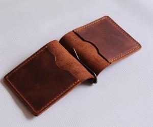 """Зажим для грошей """" 2 кішені"""" Шкіра: Крейзі хорс"""